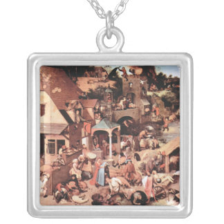 The Dutch proverbs by Pieter Bruegel Square Pendant Necklace