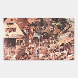 The Dutch proverbs by Pieter Bruegel Rectangular Stickers