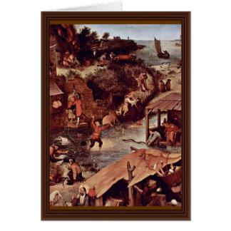 The Dutch Proverbs Detail By Bruegel D. Ä. Pieter Greeting Card