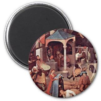 The Dutch Proverbs Detail By Bruegel D. Ä. Pieter Refrigerator Magnets