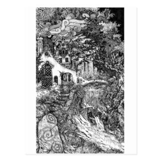 The Dwelling; pen and ink illustration Postcard