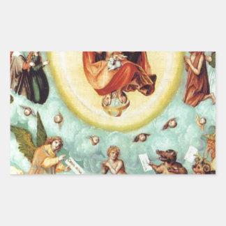 The dying man by Lucas Cranach the Elder Rectangular Sticker