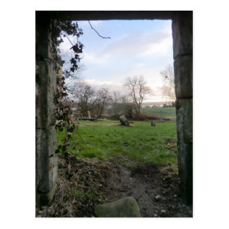 The Dying of the Day Thru an Abandoned Kirk Door Postcard
