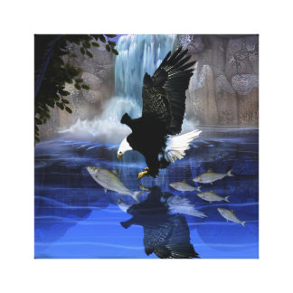 The eagle and the waterfall canvas print