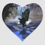 The eagle and the waterfall heart sticker