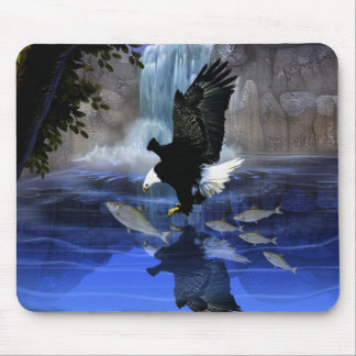 The eagle and the waterfall mouse pad