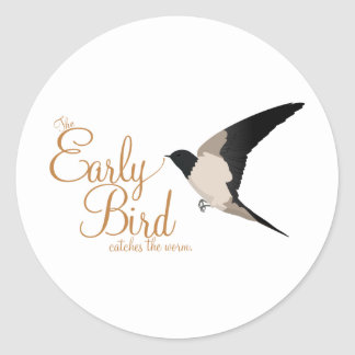 the early bird catches the worm png round sticker