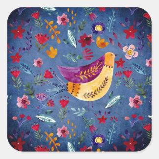 The Early Bird in Flower Garden Square Sticker