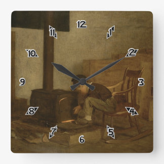 The Early Scholar - Eastman Johnson Square Wall Clock