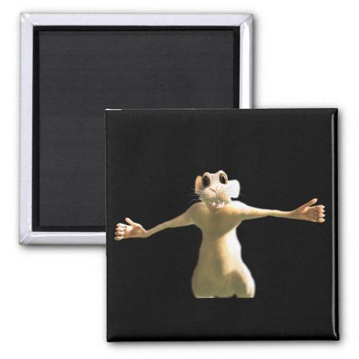The earnest mouse in black fridge magnet
