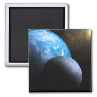 The Earth and Moon Fridge Magnets