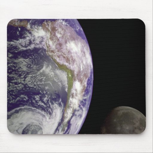 The Earth and Moon Mouse Pad