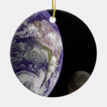 The Earth and Moon Double-Sided Ceramic Round Christmas Ornament