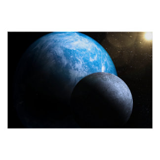 The Earth and Moon Poster