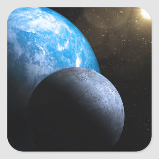 The Earth and Moon Square Sticker
