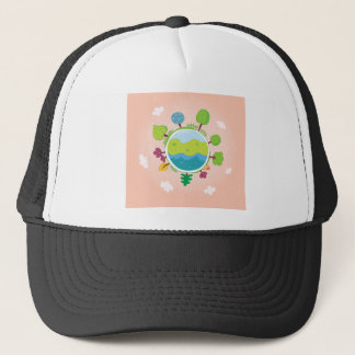 The earth day vintage Illustration edition Trucker Hat