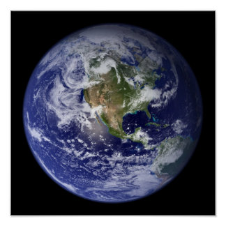 The Earth From Above Western Hemisphere Print