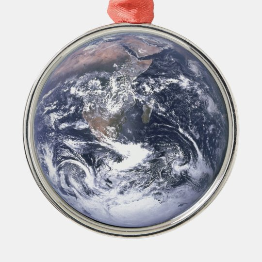 the earth from space metal ornament