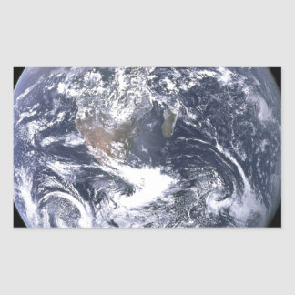 the earth from space rectangular sticker