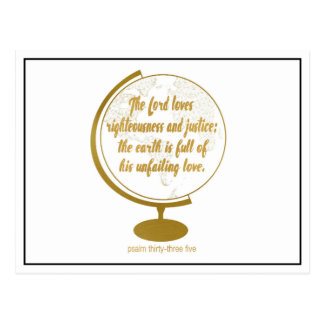The earth if full of his unfailing love, gold postcard