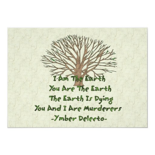 """The Earth Is Dying 5"""" X 7"""" Invitation Card"""