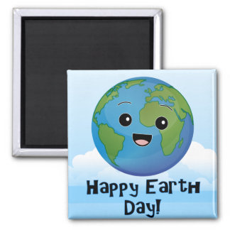 The Earth is Happy Day 2 Inch Square Magnet