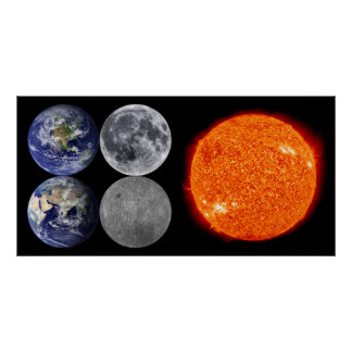 The Earth & Moon From Space & The Sun Poster