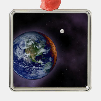 The Earth shown at the outer edges Metal Ornament