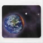 The Earth shown at the outer edges Mousepad