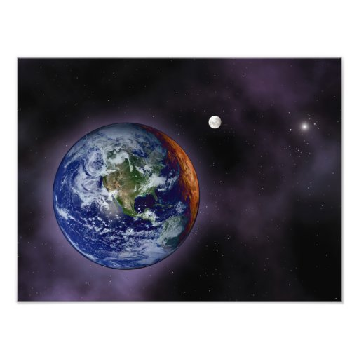 The Earth shown at the outer edges Photograph