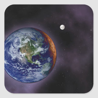 The Earth shown at the outer edges Square Sticker