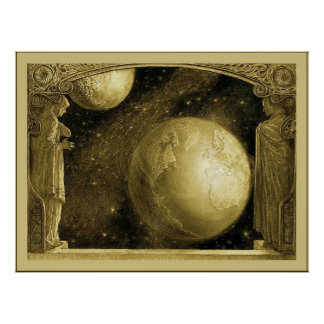 The Earth with the Milky Way and Moon Poster