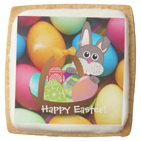 The Easter Bunny and Easter Eggs Square Shortbread Cookie
