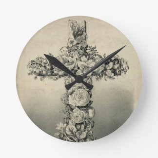 The Easter Cross by Currier & Ives 1869 Round Wall Clocks
