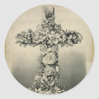 The Easter Cross by Ives 1869 Classic Round Sticker