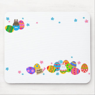 < The Easter egg and the rabbit it is piled up, Mouse Pad
