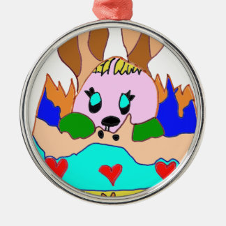 The EASTER EGG WITH LAPIN1.png Round Metal Christmas Ornament