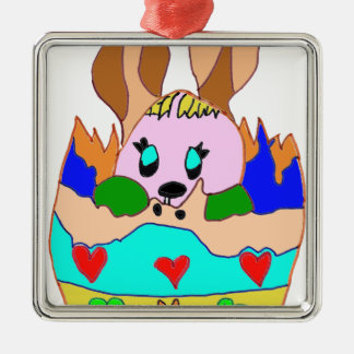 The EASTER EGG WITH LAPIN1.png Square Metal Christmas Ornament