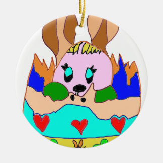 The EASTER EGG WITH LAPIN1.png Double-Sided Ceramic Round Christmas Ornament