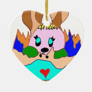 The EASTER EGG WITH LAPIN1.png Double-Sided Heart Ceramic Christmas Ornament