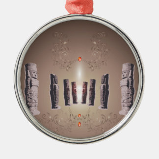 The Easter Island Round Metal Christmas Ornament