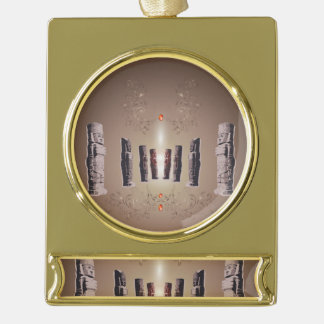 The Easter Island Gold Plated Banner Ornament
