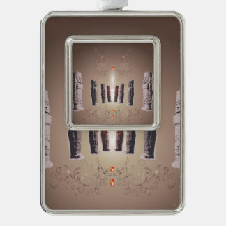 The Easter Island Silver Plated Framed Ornament