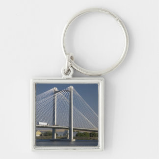 The Ed Hendler Bridge spans the Columbia River Silver-Colored Square Keychain