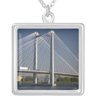 The Ed Hendler Bridge spans the Columbia River Silver Plated Necklace
