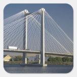The Ed Hendler Bridge spans the Columbia River Square Stickers