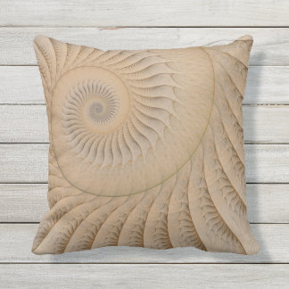 The Edge of the Sea Abstract Tan Spiral Outdoor Pillow