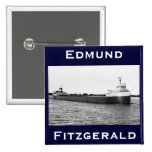 The Edmund Fitzgerald on the St. Clair River 2 Inch Square Button