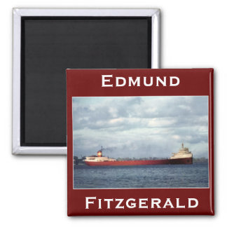 The Edmund Fitzgerald on the St. Clair River 2 Inch Square Magnet