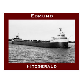 The Edmund Fitzgerald on the St. Clair River (B&W) Postcard
